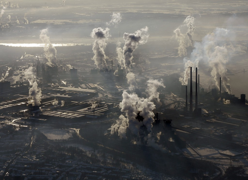 FILE - In this Jan. 9, 2009 file photo is an aerial view of the steel company ThyssenKrupp in Duisburg, western Germany. Inger Andersen, head of the U...