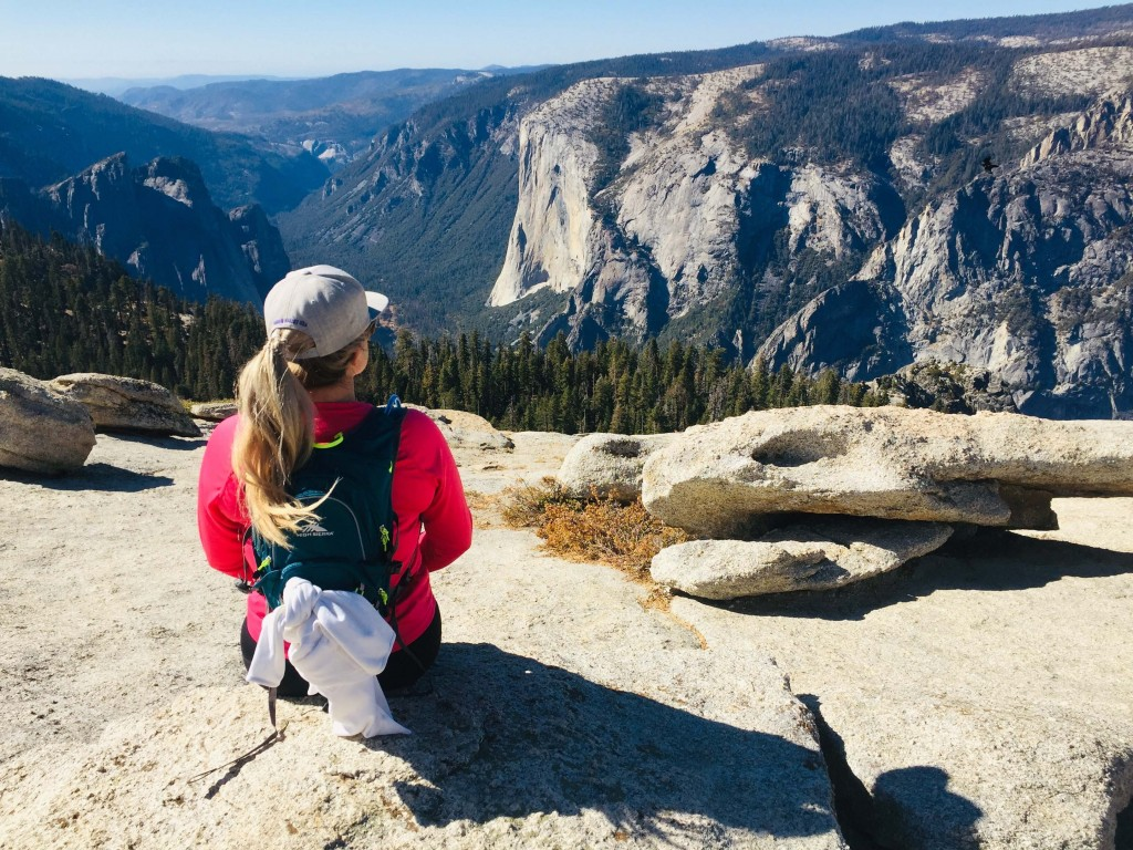 This Oct. 20, 2019 photo shows Karen Tara, of San Francisco, soaking in the views of El Capitan from the top of Sentinel Dome in Yosemite National Par...