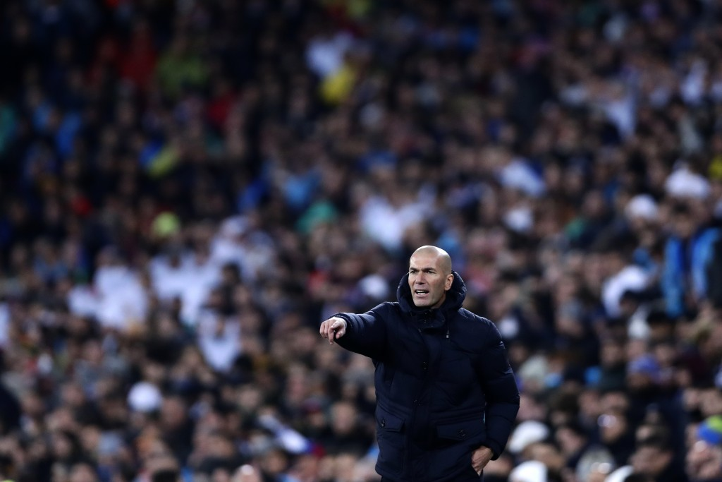 Real Madrid's head coach Zinedine Zidane gives instructions from the side line during a Champions League soccer match Group A between Real Madrid and ...