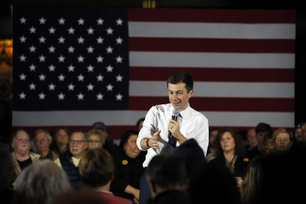 Democratic presidential candidate South Bend, Ind., Mayor Pete Buttigieg speaks during a town hall meeting, Tuesday, Nov. 26, 2019, in Denison, Iowa. ...