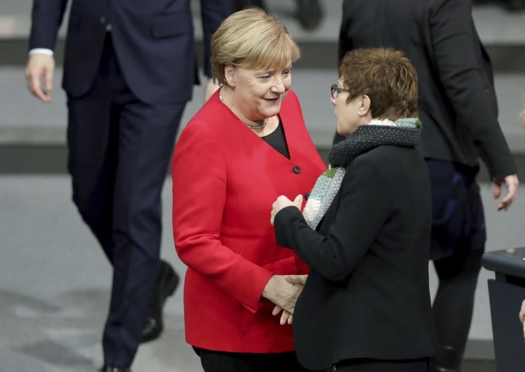 German Chancellor Angela Merkel, left, and Annegret Kramp-Karrenbauer, right, Defence Minister and chairwoman of the German Christian Democratic Union...