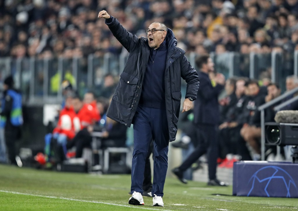Juventus' head coach Maurizio Sarri reacts during the Champions League group D soccer match between Juventus and Atletico Madrid at the Allianz stadiu...