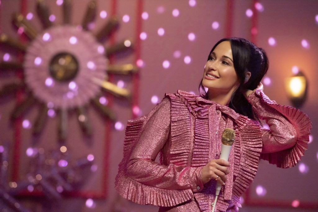 """This image released by Amazon Studios shows Kacey Musgraves during a taping of """"The Kacey Musgraves Christmas Show,"""" streaming on Amazon on Nov. 29. (..."""