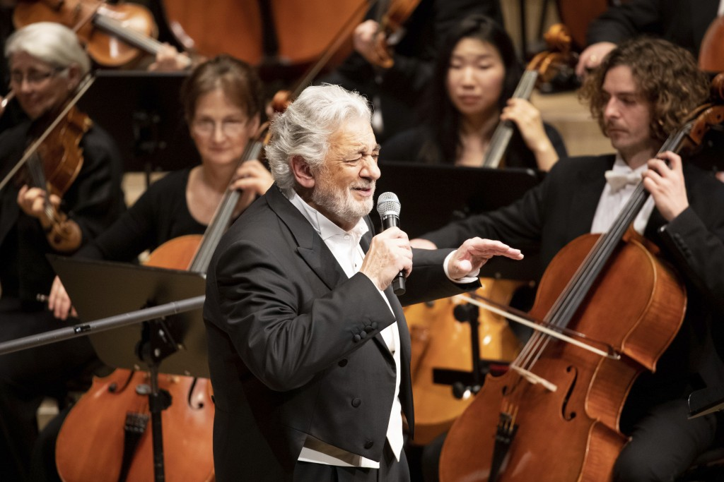 Opera star Placido Domingo performs during a concert at the Elbphilharmonie in Hamburg, Germany, on Wednesday, No. 27, 2019. (Christian Charisius/dpa ...