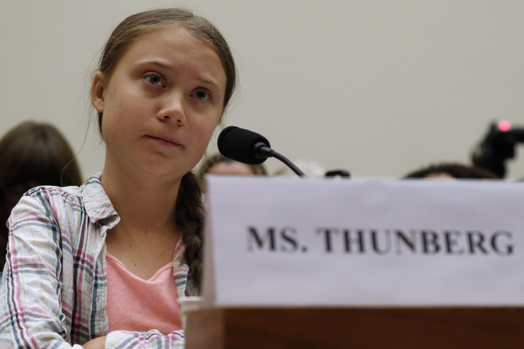 FILE - In this Wednesday, Sept. 18, 2019 file photo, youth climate change activist Greta Thunberg speaks at a House Foreign Affairs Committee subcommi...
