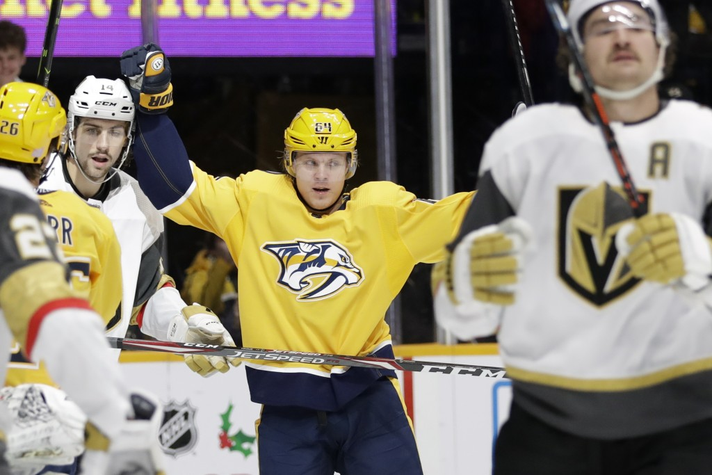 Nashville Predators center Mikael Granlund (64), of Finland, celebrates after scoring a goal against the Vegas Golden Knights in the second period of ...