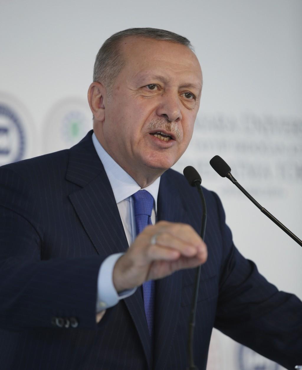 Turkey's President Recep Tayyip Erdogan speaks during the ground-breaking of Marmara University's Recep Tayyip Erdogan complex, in Istanbul, Friday, N...
