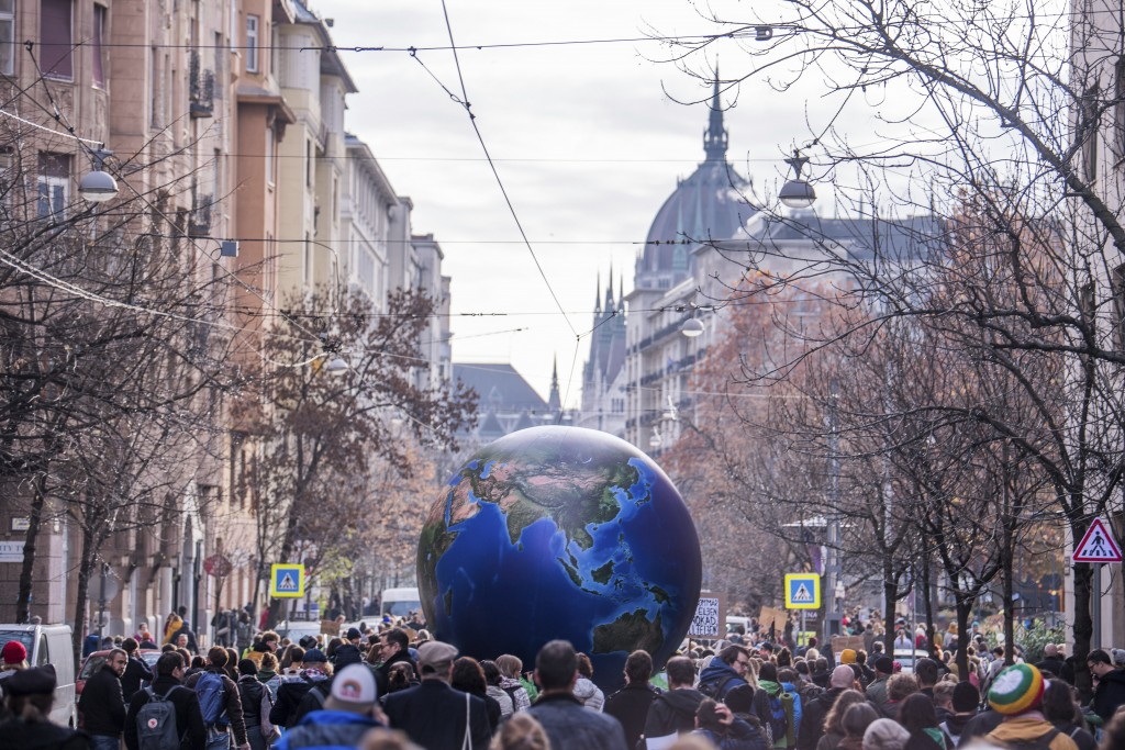 Following the call of Fridays For Future Hungary and Extinction Rebellion Hungary young environmentalists demonstrate to demand measures against clima...