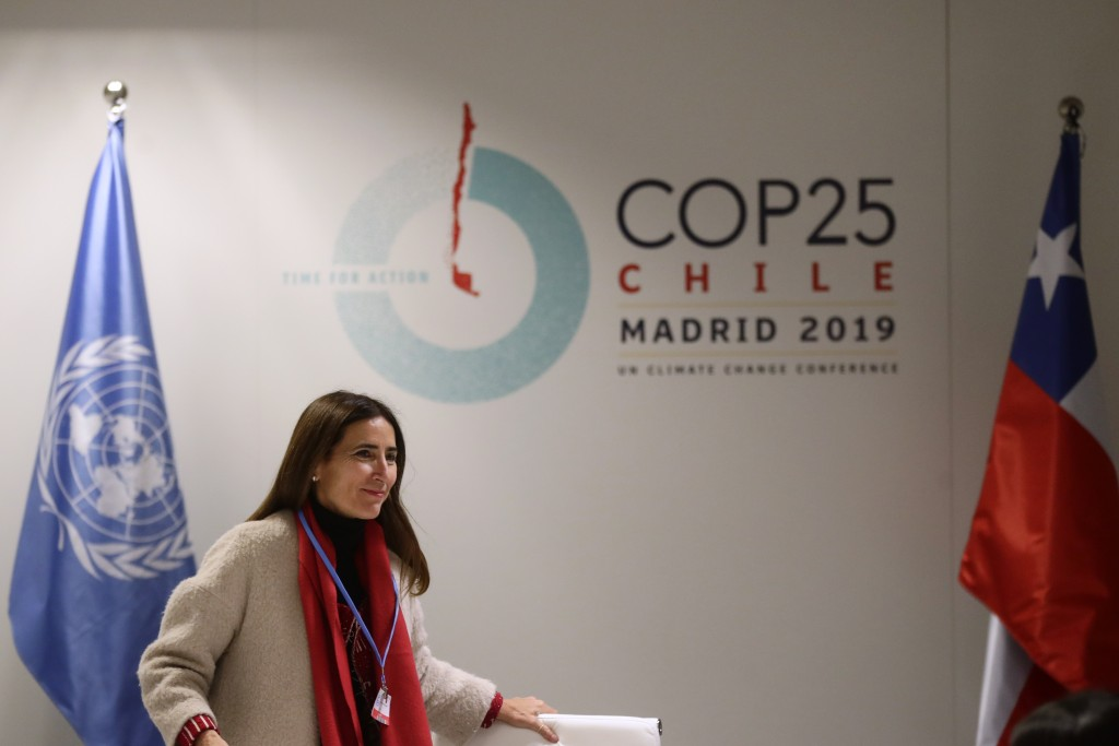 Chilean Environment Minister and chair of COP25 Carolina Schmidt attends a press conference ahead of the Climate Summit COP25 in Madrid, Spain, Friday...