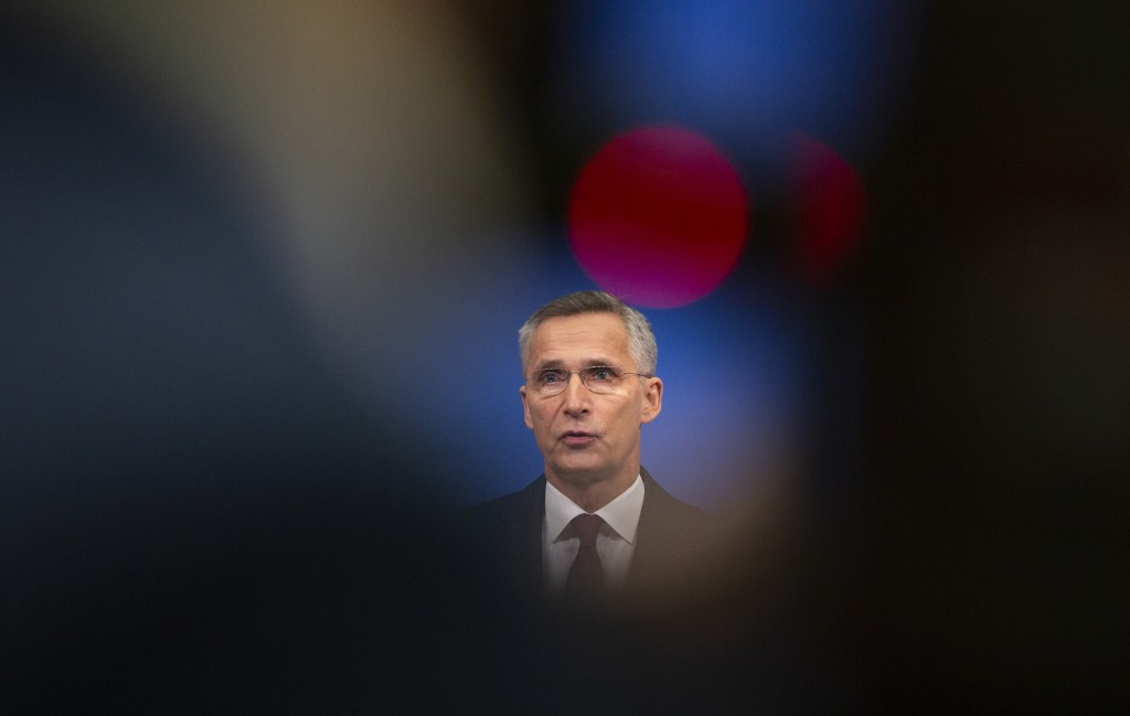 NATO Secretary General, Jens Stoltenberg speaks during a media conference at NATO headquarters in Brussels, Friday, Nov. 29, 2019. (AP Photo/Virginia ...