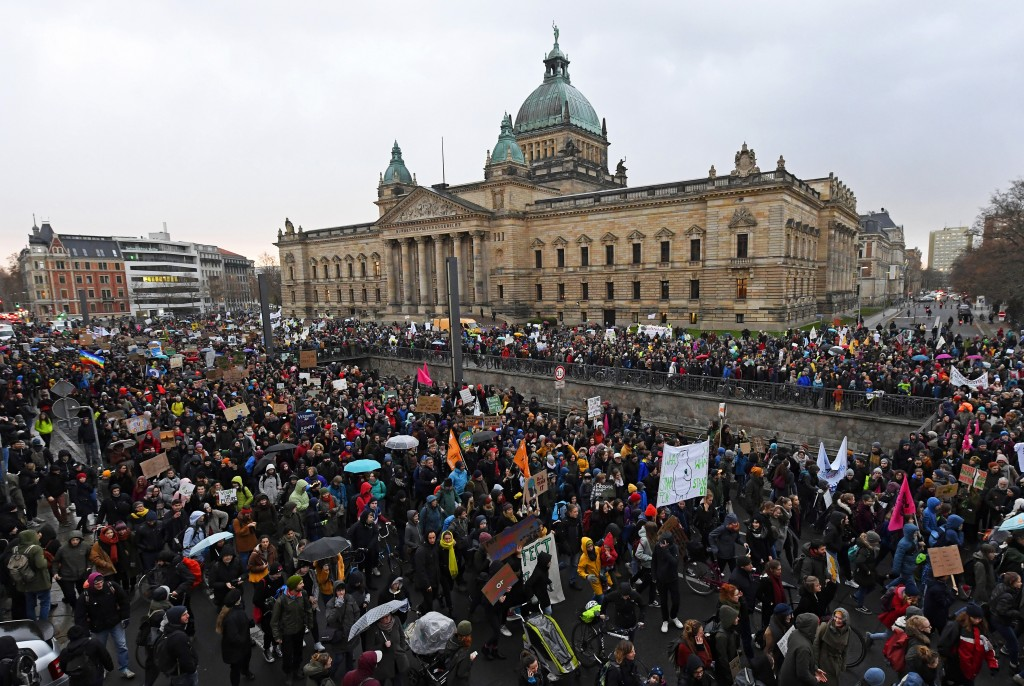 Thousands of demonstrators attend a protest climate strike ralley of the 'Friday For Future Movement' in front of the Federal Administrative Court bui...