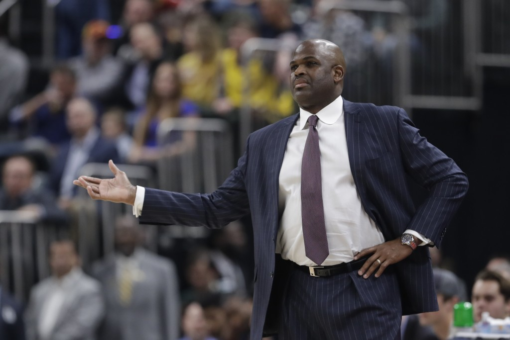 Indiana Pacers head coach Nate McMillan question a call during the first half of an NBA basketball game against the Atlanta Hawks, Friday, Nov. 29, 20...