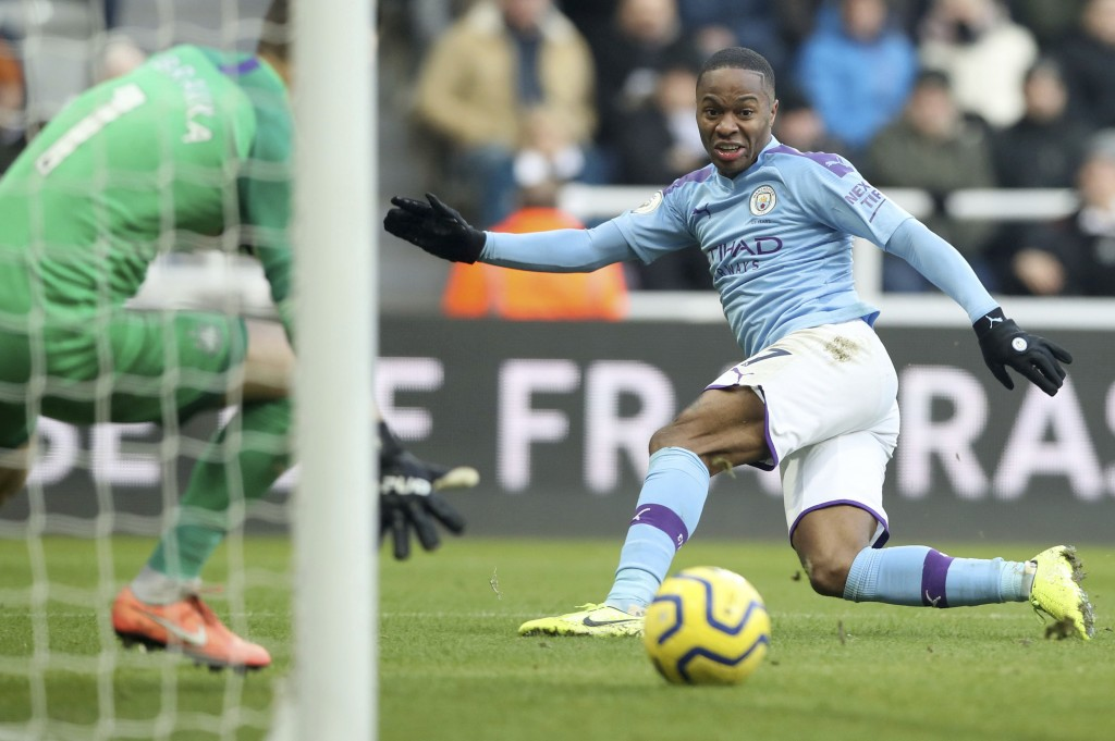 Manchester City's Raheem Sterling has a short on goal during the English Premier League soccer match between Newcastle United and Manchester City at S...