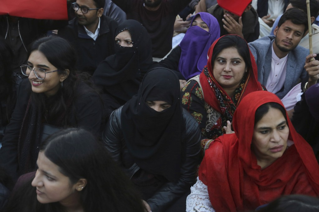 Pakistani students and civil society activists gather to rally against ban on students unions in Lahore, Pakistan, Friday, Nov. 29, 2019. Students bac...