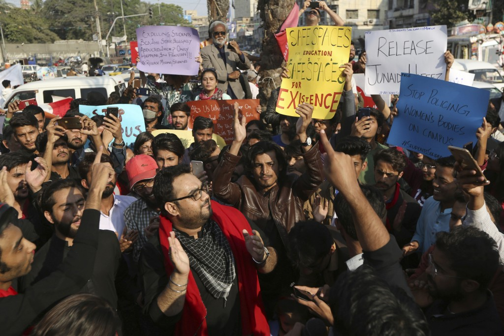 Pakistani students and civil society activists rally against ban on students' unions in Karachi, Pakistan, Friday, Nov. 29, 2019. Students backed by r...