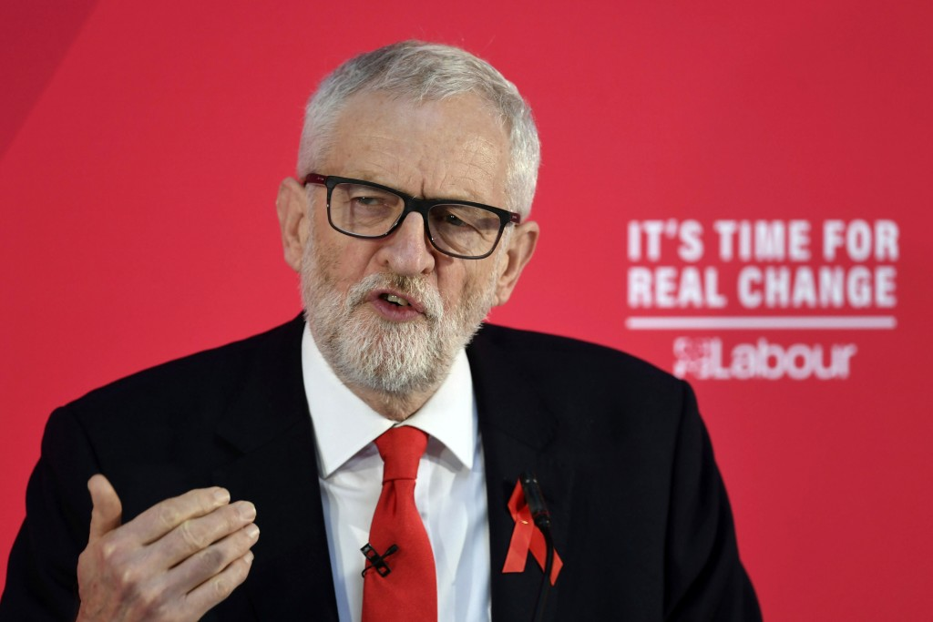 Britain's Labour Party leader Jeremy Corbyn makes a speech on international and foreign policy in York, England, Sunday Dec. 1, 2019, ahead of the gen...