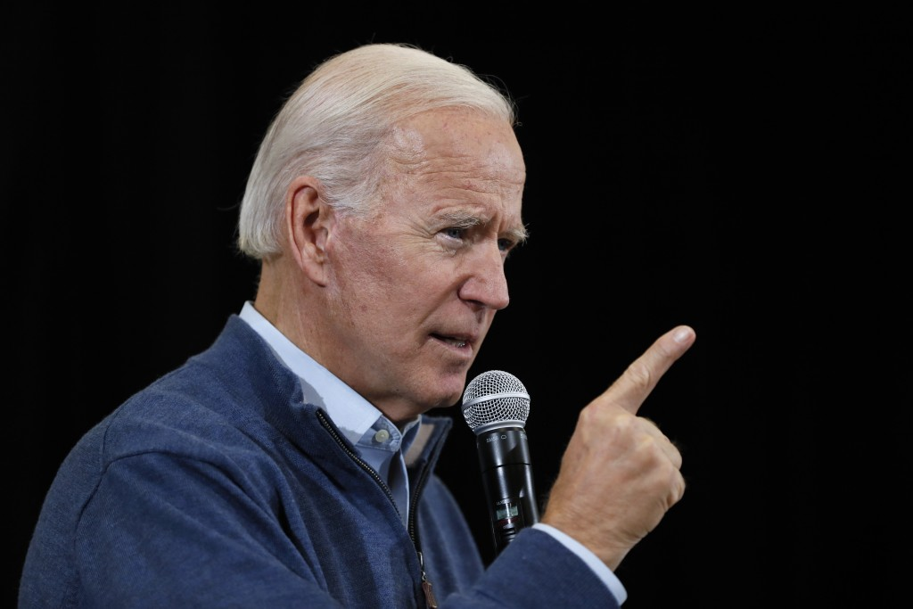 FILE - In this Nov. 22, 2019, file photo, Democratic presidential candidate former Vice President Joe Biden speaks during a town hall meeting in Winte...
