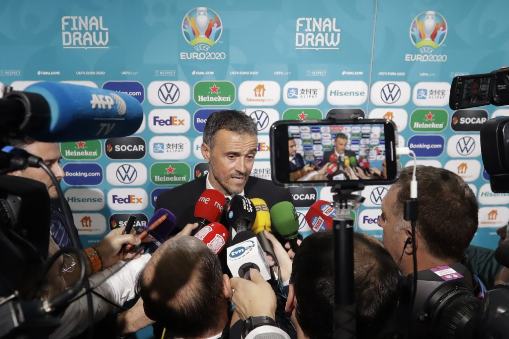 Spain coach Luis Enrique talks to journalists after the draw for the UEFA Euro 2020 soccer tournament finals in Bucharest, Romania, Saturday, Nov. 30,...