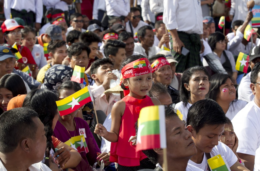 People attend a rally Sunday, Dec. 1, 2019, in Yangon, Myanmar. About 700 people rallied Sunday to show support for Myanmar's leader, Aung San Suu Kyi...