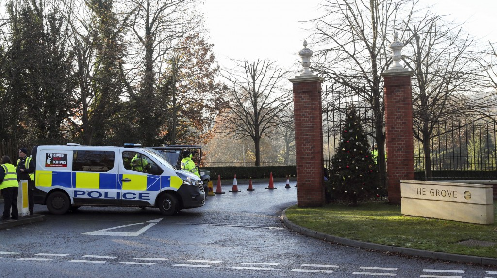 Police outside The Grove hotel in Watford ahead of the NATO Leaders Meeting beginning on Tuesday, in Hertfordshire, England, Monday, Dec. 2, 2019. U.S...