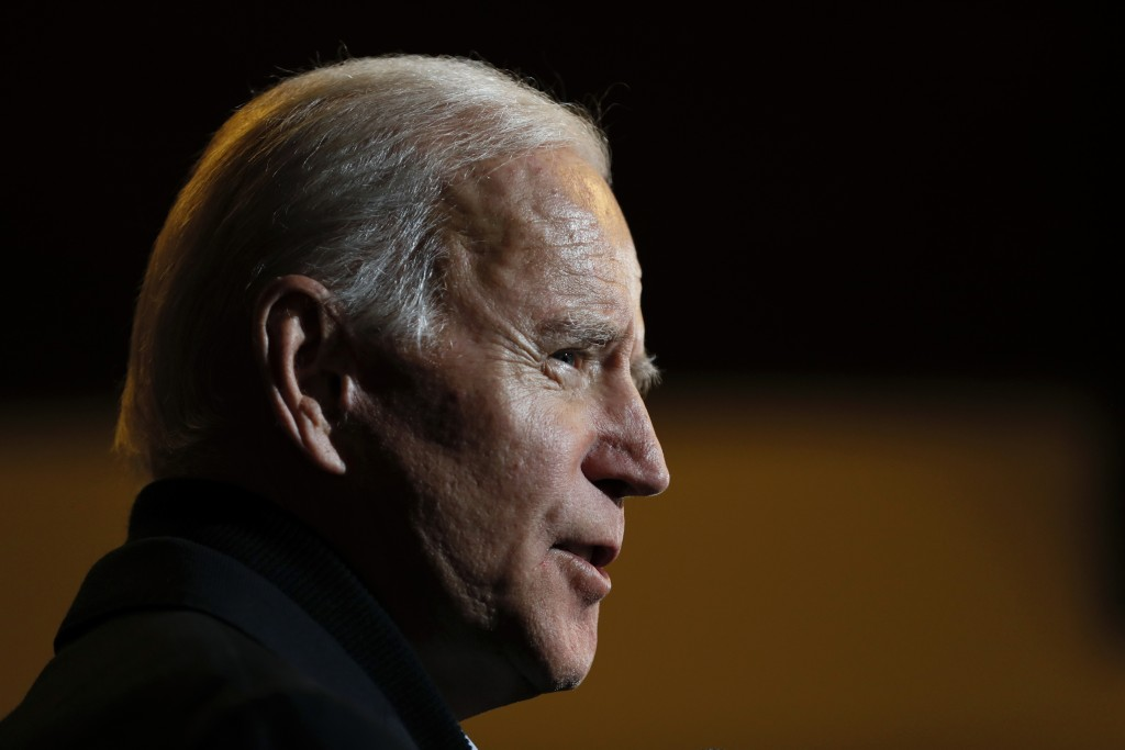 Democratic presidential candidate, former Vice President Joe Biden speaks during a meeting with local residents, Sunday, Dec. 1, 2019, in Spencer, Iow...
