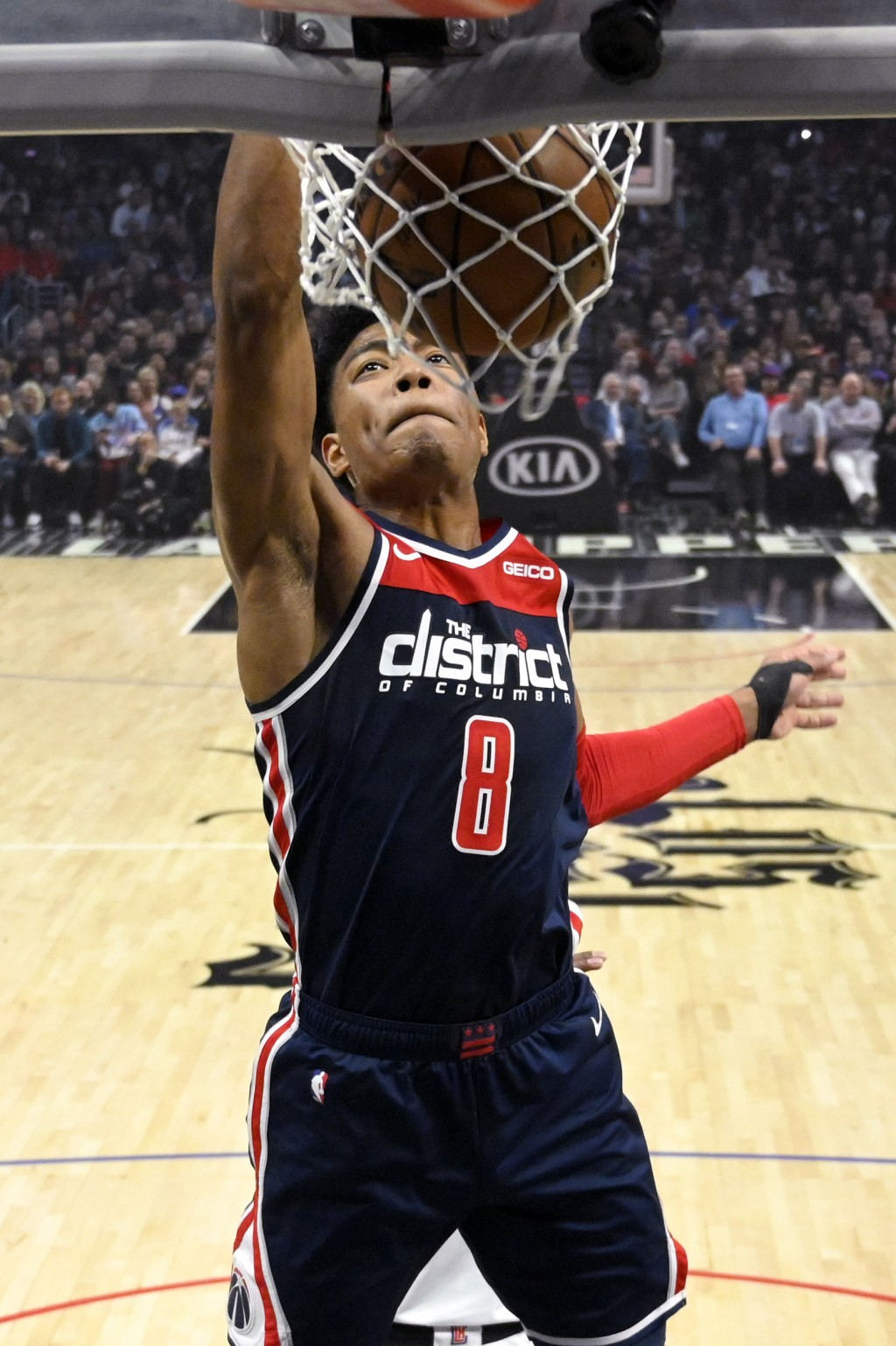 Washington Wizards forward Rui Hachimura, of Japan, dunks during the first half of an NBA basketball game against the Los Angeles Clippers, Sunday, De...
