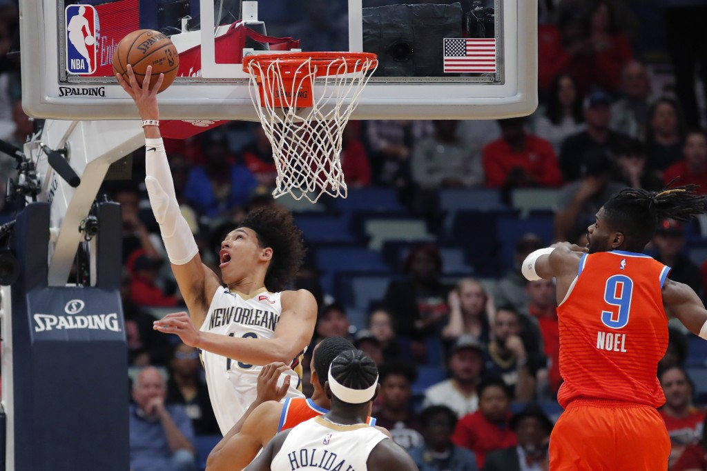 New Orleans Pelicans center Jaxson Hayes (10) goes to the basket against Oklahoma City Thunder center Nerlens Noel (9) in the first half of an NBA bas...