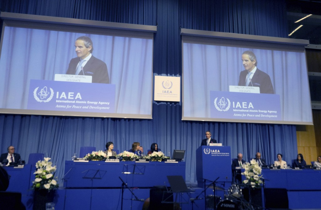 The designated director general of International Atomic Energy Agency, IAEA, Rafael Mariano Grossi from Argentina, delivers a speech at the beginning ...