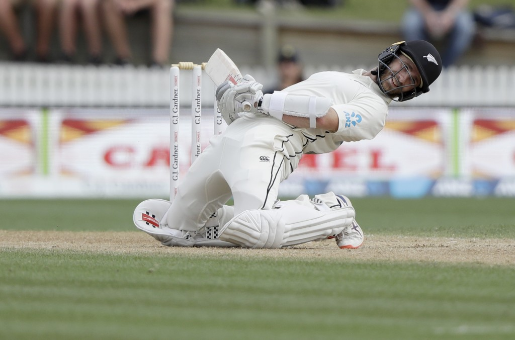 New Zealand's Kane Williamson ducks to avoid a delivery from England's Jofra Archer during play on day four of the second cricket test between England...