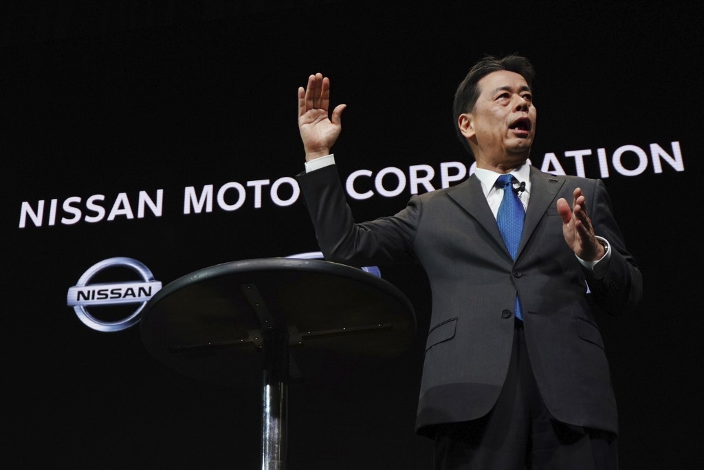 Nissan Chief Executive Makoto Uchida speaks during a press conference at the automaker's headquarters in Yokohama, near Tokyo Monday, Dec. 2, 2019. Ni...