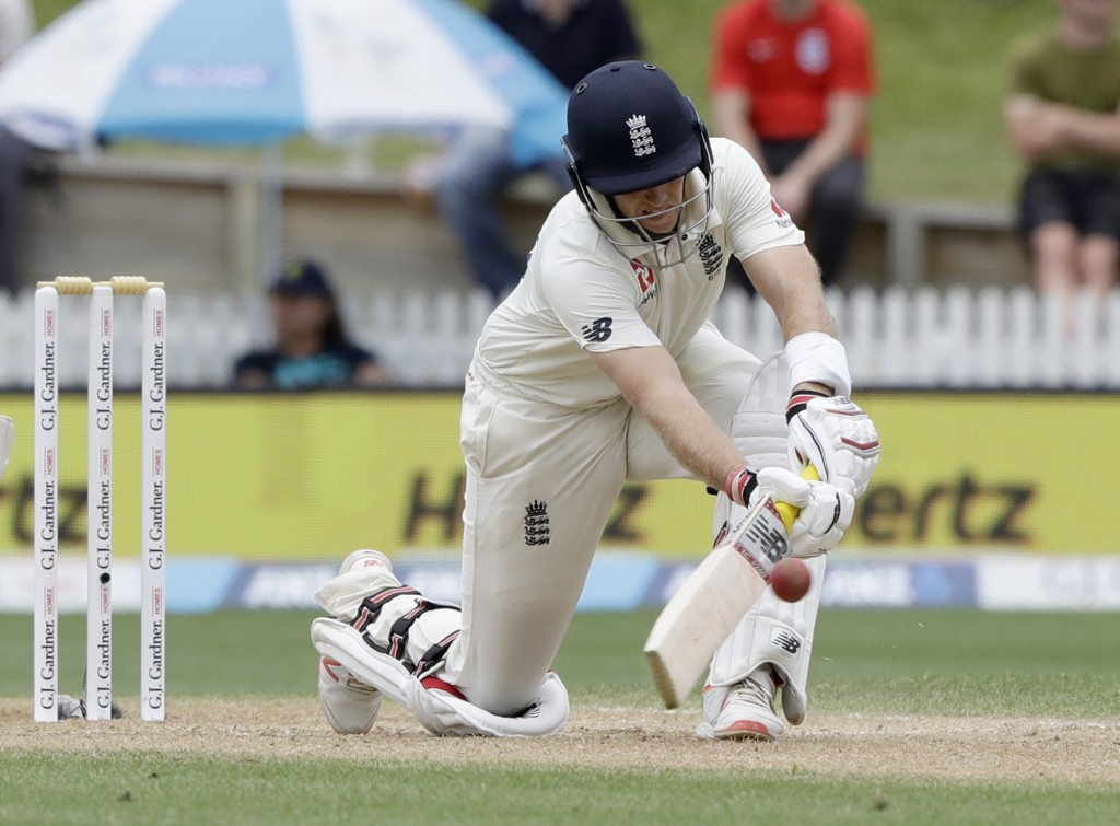 England's Joe Root bats during play on day four of the second cricket test between England and New Zealand at Seddon Park in Hamilton, New Zealand, Mo...