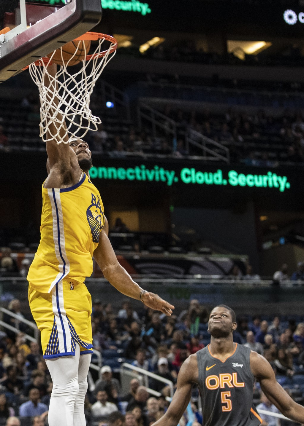 Golden State Warriors forward Glenn Robinson III (22) slams against Orlando Magic center Mo Bamba (5) during the first half of an NBA basketball game,...