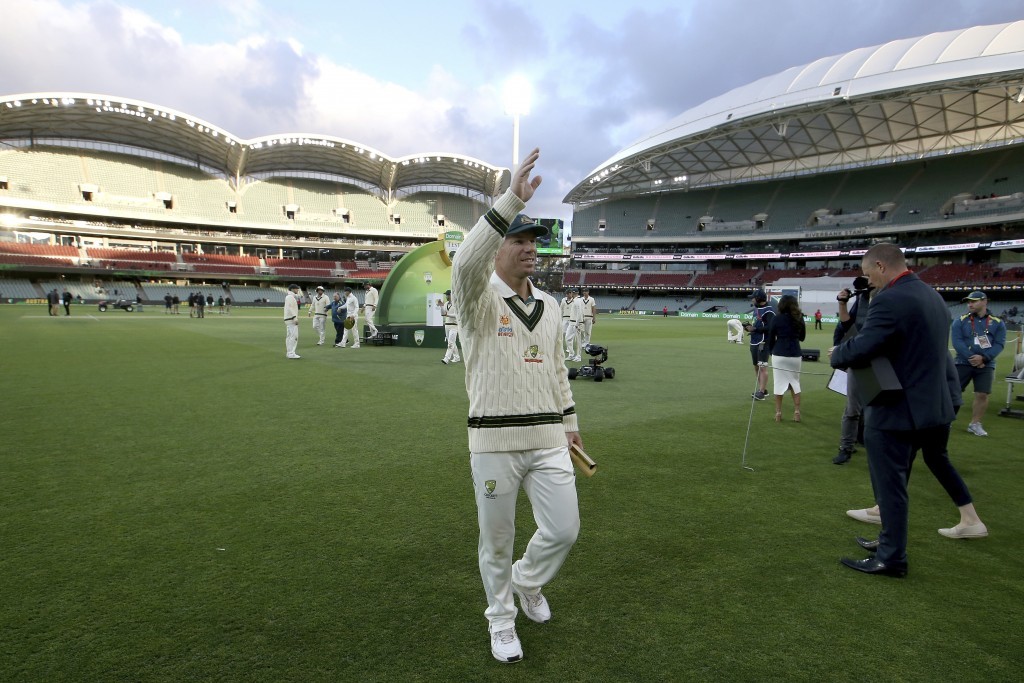 Man of the match Australia's David Warner after their win over Pakistan in their cricket test match in Adelaide, Monday, Dec. 2, 2019. (AP Photo/James...