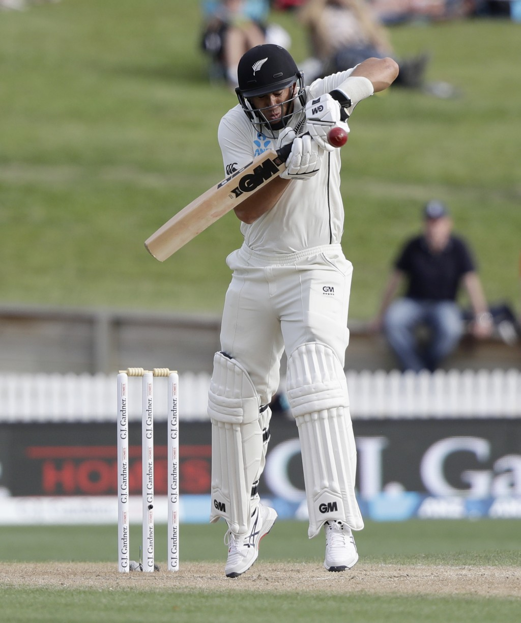 New Zealand's Ross Taylor bats during play on day four of the second cricket test between England and New Zealand at Seddon Park in Hamilton, New Zeal...