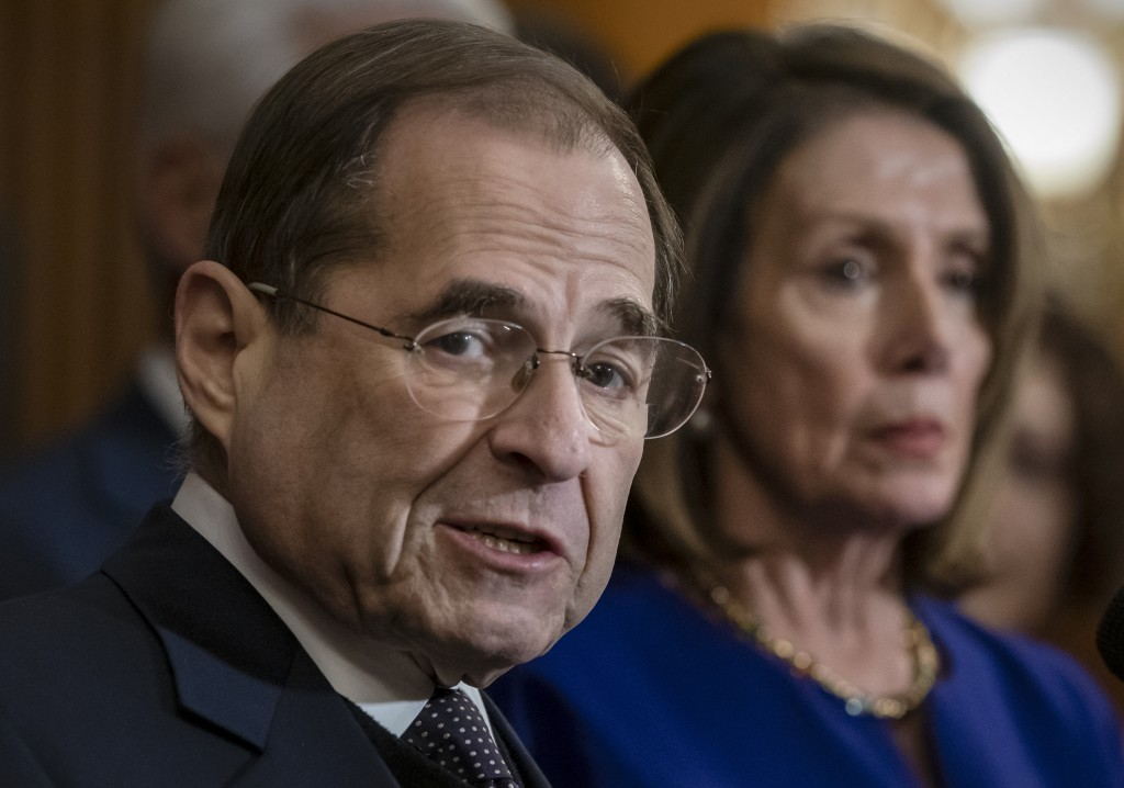 FILE - In this March 7, 2019, file photo, House Judiciary Committee Chairman Jerrold Nadler, D-N.Y., and Speaker of the House Nancy Pelosi, D-Calif., ...
