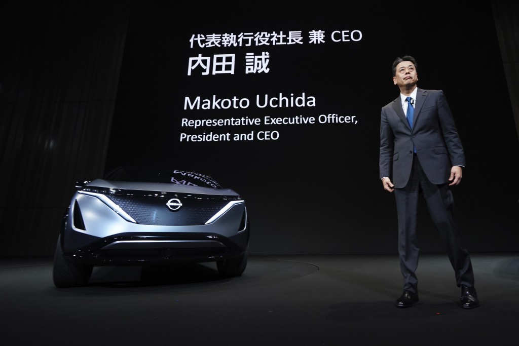 Nissan Chief Executive Makoto Uchida speaks during a press conference in the automaker's headquarters in Yokohama, near Tokyo Monday, Dec. 2, 2019. (A...