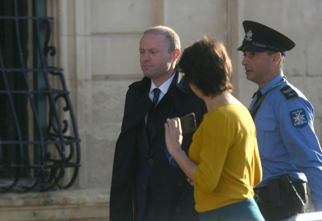 Malta Prime Minister Joseph Muscat is seen as he enters his office at Castille, in Valletta, Malta, Tuesday, Dec. 3, 2019,  where he met a delegation ...