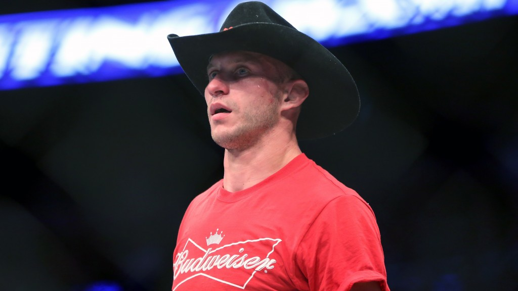 In this Jan. 18, 2015 photo Donald 'Cowboy' Cerrone is seen after a fight at UFC Fight Night in Boston. Cerrone is set for the fight of his MMA career...