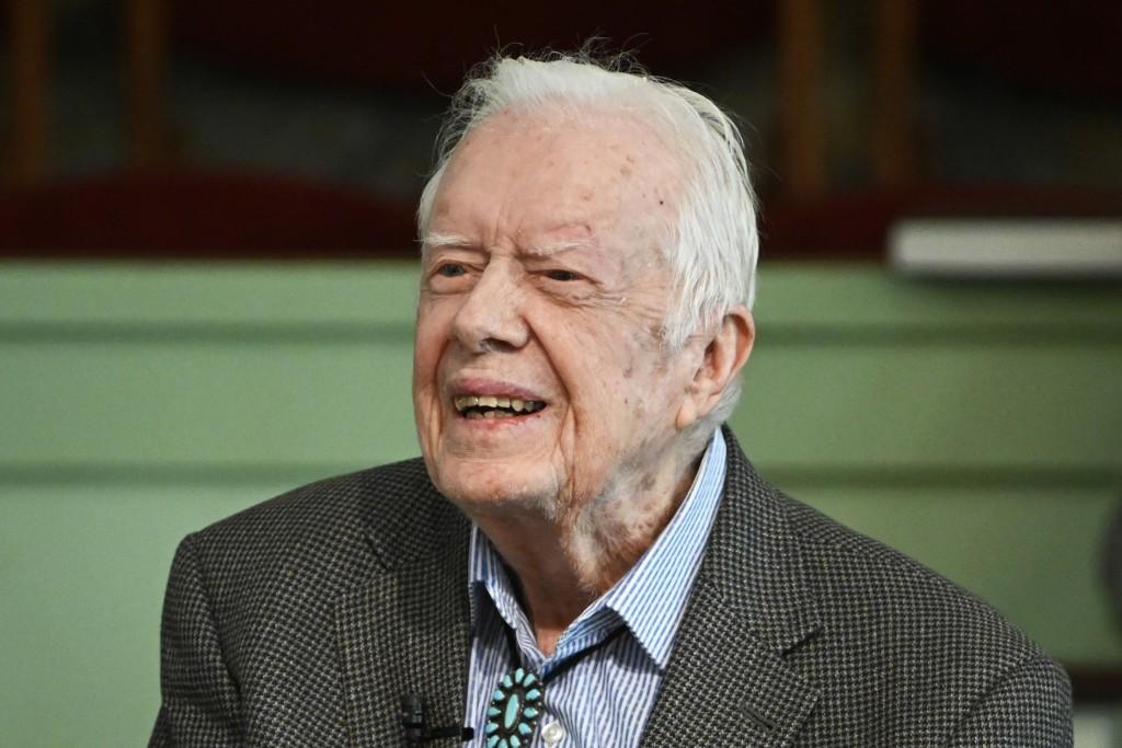 FILE - In this Nov. 3, 2019 file photo, former President Jimmy Carter teaches Sunday school at Maranatha Baptist Church in Plains, Ga. Deanna Congileo...