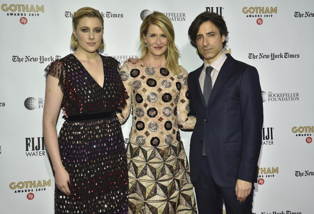 Greta Gerwig, from left, Laura Dern and Noah Baumbach attend the Independent Filmmaker Project's 29th annual IFP Gotham Awards at Cipriani Wall Street...