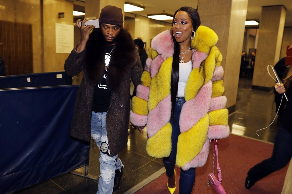 Rapper Remy Ma, whose real name is Reminisce Smith, leaves Manhattan criminal court, with her husband Shamele Mackie, whose stage name is Papoose, in ...