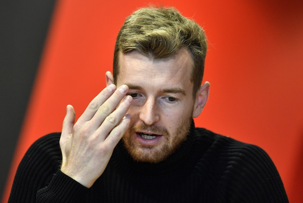 Leverkusen's goalkeeper Lukas Hradecky talks during an interview with the Associated Press at the BayArena in Leverkusen, Germany, Monday, Dec. 2, 201...