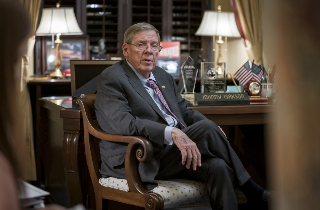 Sen. Johnny Isakson, R-Ga., meets with his staff in his office on Capitol Hill in Washington, Monday, Dec. 2, 2019, as he prepares to deliver his fare...