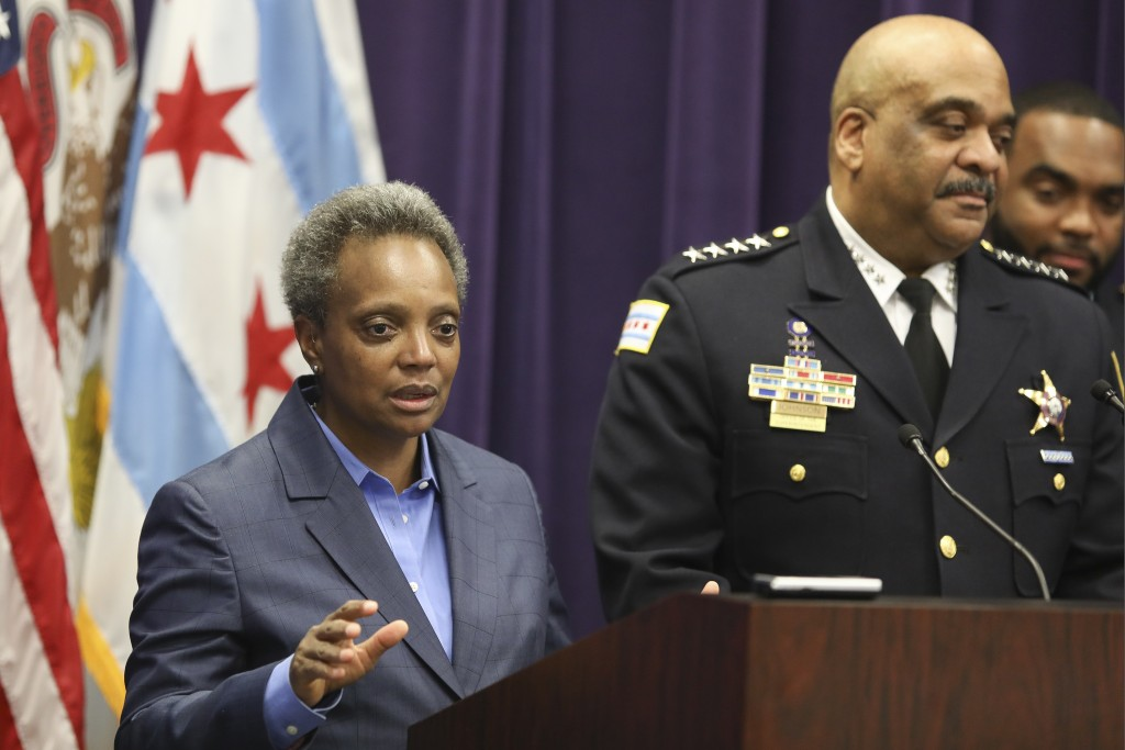 FILE - In this Nov. 7, 2019 file photo, Mayor Lori Lightfoot speaks as Chicago Police Superintendent Eddie Johnson announces his retirement after more...