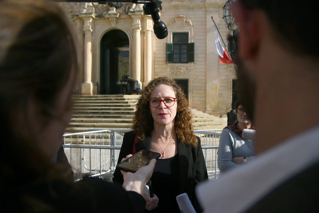 EU special enjoy Sophia in 't Veld is seen talking to the press outside Castille, in Valletta, Malta, Tuesday, Dec. 3, 2019, after a short meeting wit...