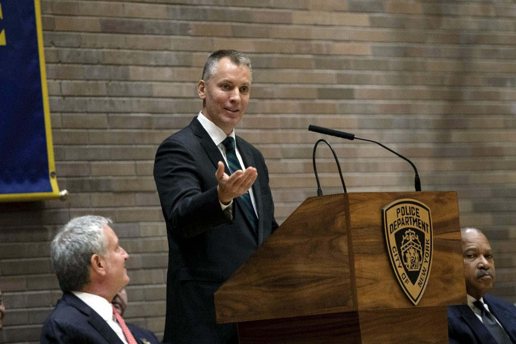 Incoming Police Commissioner Dermot Shea addresses attendees at his swearing-in ceremony at police headquarters Monday, Dec. 2, 2019, in New York. (AP...