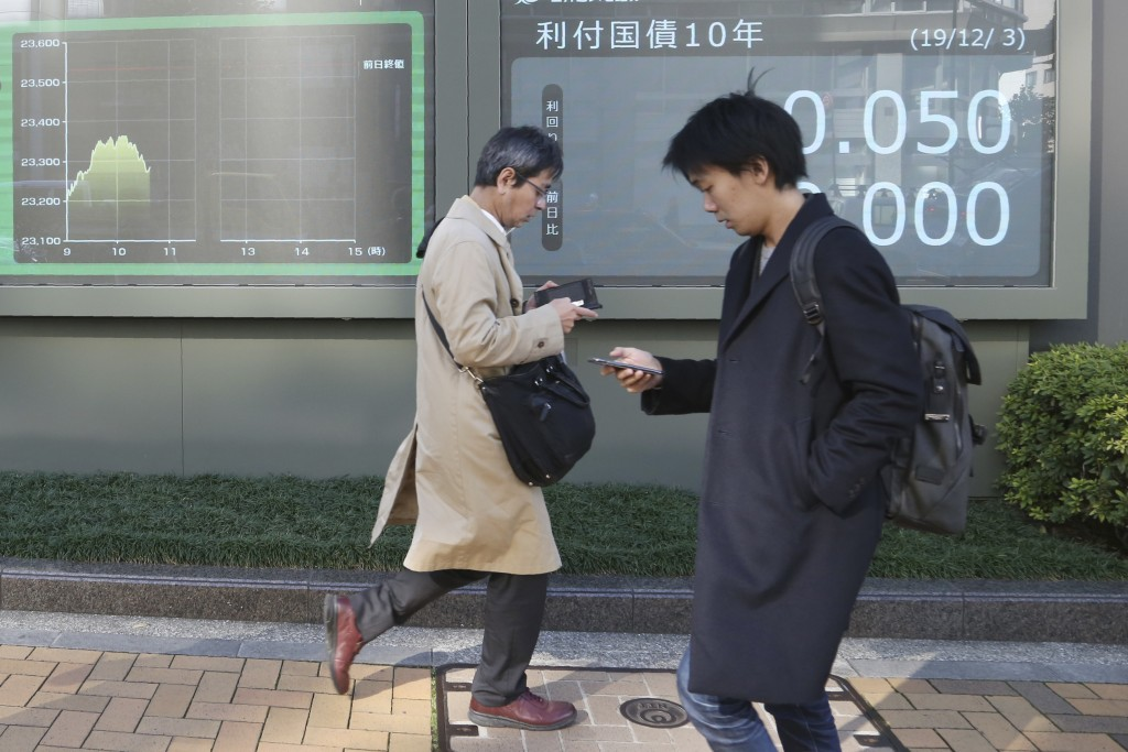 People walk by an electronic stock board of a securities firm in Tokyo, Tuesday, Dec. 3, 2019. Asian shares slipped Tuesday, following a drop on Wall ...