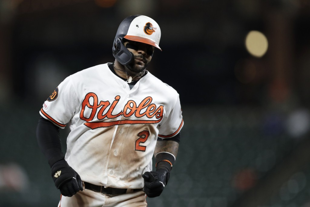 FILE - In this Tuesday, Sept. 17, 2019, file photo, Baltimore Orioles' Jonathan Villar runs the bases after hitting a solo home run off Toronto Blue J...