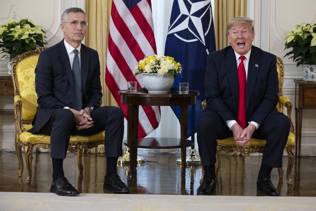 U.S. President Donald Trump speaks during a meeting with NATO Secretary General, Jens Stoltenberg at Winfield House in London, Tuesday, Dec. 3, 2019. ...