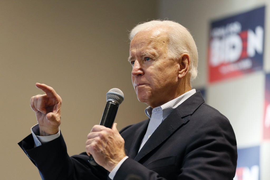 Democratic presidential candidate former Vice President Joe Biden speaks during a meeting with local residents, Monday, Dec. 2, 2019, in Emmetsburg, I...